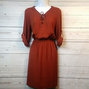 Rust Orange Cinch Waist Midi Sz Med